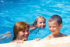 Family in the swimming pool. Stock Image