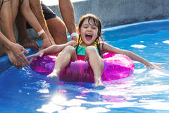 Family Swimming Pool Playing Togetherness Summer Holiday Stock Photos