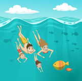 Family swimming underwater. Summer leisure. Holidays and travel in sea. Mom, dad, daughter, son are snorkeling. Woman, man and their children are driving and Stock Photo
