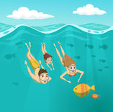 Family swimming underwater. Summer leisure. Holidays and travel in to the sea. Mom, Dad and daughter are snorkeling. Woman, man and their child are driving and Stock Photo