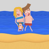 Family with swimsuit at beach.  Royalty Free Stock Photo