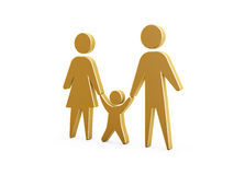 Family symbol. Golden family symbol of mother father and kid on white background Stock Image
