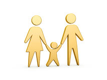 Family symbol. Golden family symbol of mother father and kid on white background Royalty Free Stock Photography
