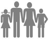 Family symbol. Closeup of stick man family symbol on white background Stock Image