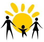 Family symbol. Happy family silhouettes on a sun background Royalty Free Stock Photo