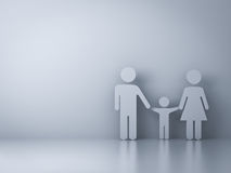 Family symbol on empty white wall background Stock Photo