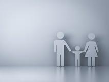 Family symbol on empty white wall background Stock Photo