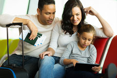 Family tablet airport Royalty Free Stock Photo