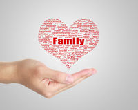 Family Tag Cloud In Hand Stock Photography
