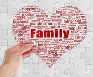 Family Tag Cloud In Hand Royalty Free Stock Photography
