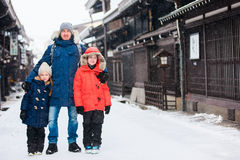 Family in Takayama town Royalty Free Stock Image