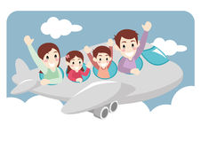 Family Take a Vacation Trip by Airplane Royalty Free Stock Image