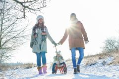 Family take a walk in the snow. With child on sled Stock Image