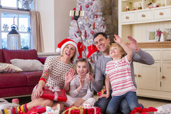 Family taking a Selfie at Christmas Time Royalty Free Stock Photos