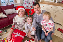 Family taking a Selfie at Christmas Royalty Free Stock Images