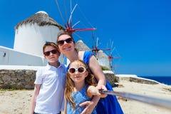 Family taking selfie in Greece Stock Photos