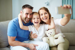 Family taking selfie Royalty Free Stock Photos