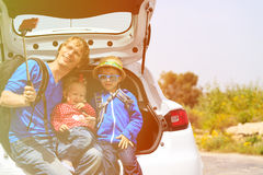 Family taking selfie while travel by car Royalty Free Stock Photo