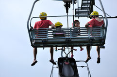 Family of 4 taking a Skyride Stock Photos