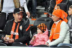 Family team Shakhtar fans in the stands Stock Images