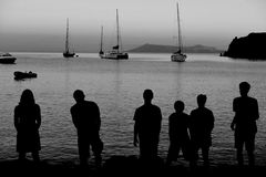 Family/Team Silhouette Arkivbilder