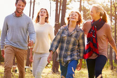 Family with teenage kids walking in countryside, close up royalty free stock photos