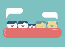 Family of teeth ,happy dental Royalty Free Stock Photo