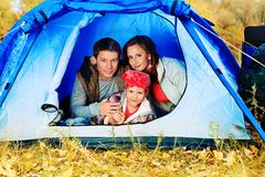 Family in tent Stock Photos