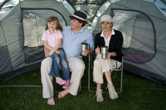 Family in tent Royalty Free Stock Image