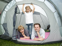 Family in tent Royalty Free Stock Photo
