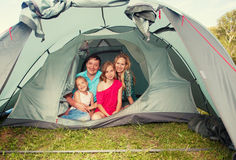 Family in a tent Royalty Free Stock Image