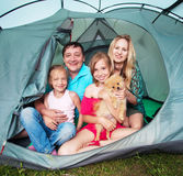 Family in a tent royalty free stock photo