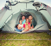 Family in a tent Stock Photo