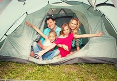 Family in a tent Royalty Free Stock Photography