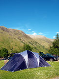 Family tent with mountain backdrop Royalty Free Stock Photo