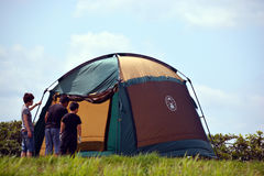 Family and tent Stock Photography