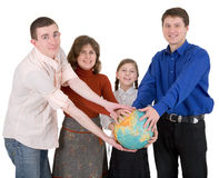 Family and terrestrial globe Royalty Free Stock Image