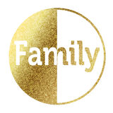 Family. Text in bright gold Stock Images