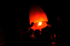 A Family - Thai people floating lamp in Yeepeng festival Royalty Free Stock Photography