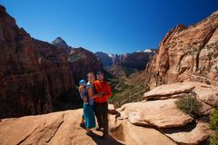 Family with their baby son visit Zion National park in Utah, USA Royalty Free Stock Photography
