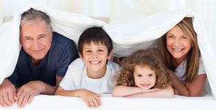 Family in their bedroom at home Stock Photography