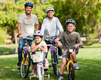 Family with their bikes Stock Photo
