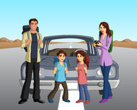 Family beside their car Stock Photos