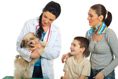 Family with their dog at vet. Vet doctor examine puppy dog and his family looking at them isolated on white background stock photo