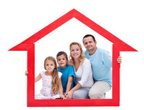 Family in their home stock photo