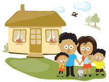 Family by their house Stock Image