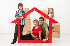 Family in their new home concept Royalty Free Stock Photo