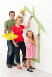 Family in their new home Stock Images