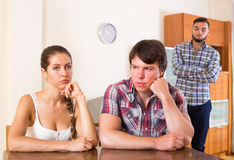 Family thinking about quarrel with partners Royalty Free Stock Photo