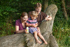 Family of three blowing soap bubbles together in summer forest Royalty Free Stock Image